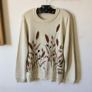 Vintage Sweaters - ALFRED DUNNER Vintage Fall Bouquet Boho Sweater